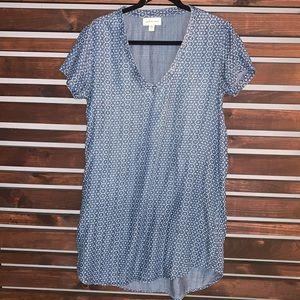 Cloth & Stone Denim Hexagon Print Dress P Small